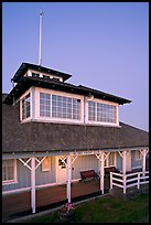 South Bay Yacht club at dusk, Alviso. San Jose, California, USA (color)