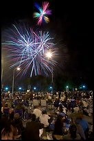 Families watching fireworks, Independence Day. San Jose, California, USA ( color)