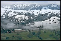 Snow on top of green hills of Mount Hamilton Range. San Jose, California, USA