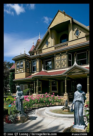Statues, fountain, and facade. Winchester Mystery House, San Jose, California, USA