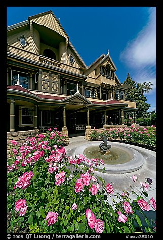 Roses and facade. Winchester Mystery House, San Jose, California, USA