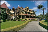 Gardens and facade. Winchester Mystery House, San Jose, California, USA (color)
