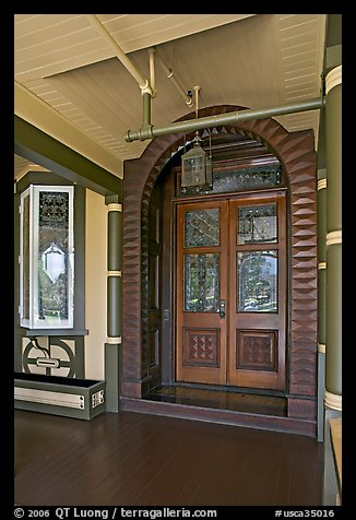 Main entrance doors, always locked. Winchester Mystery House, San Jose, California, USA