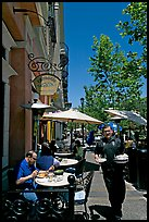 Streetside restaurant terrace and waiter. Santana Row, San Jose, California, USA ( color)