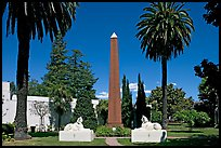 Sphynx and Obelisk, Rosicrucian Park. San Jose, California, USA (color)