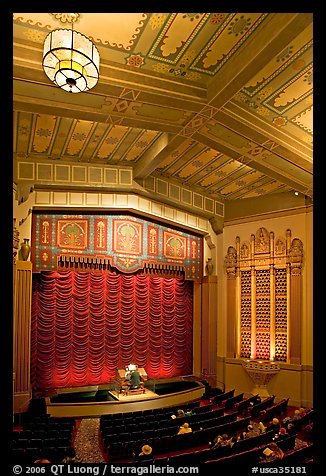 Organist playing during intermission in Stanford Theatre. Palo Alto,  California, USA (color)