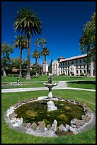 Fountain and lawn near mission, Santa Clara University. Santa Clara,  California, USA (color)
