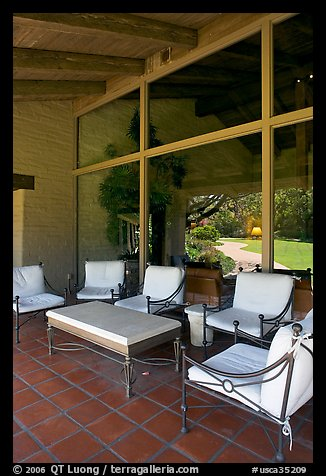 Chairs and coffee table on porch, Sunset Gardens. Menlo Park,  California, USA