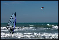 Windsurfer and kitesurfer, Waddell Creek Beach. California, USA