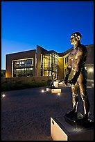 Rodin sculpture and Cantor Museum at night. Stanford University, California, USA (color)