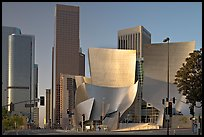Walt Disney Concert Hall and high rise towers. Los Angeles, California, USA (color)