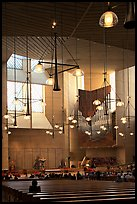 Interior of the Cathedral of our Lady of the Angels, designed by Jose Rafael Moneo. Los Angeles, California, USA ( color)