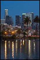 Skyline reflected in a lake in Mc Arthur Park. Los Angeles, California, USA ( color)