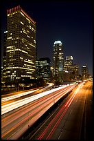 Traffic on Harbor Freeway and skyline at night. Los Angeles, California, USA ( color)
