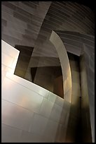 Steel curves of the Walt Disney Concert Hall at night. Los Angeles, California, USA (color)