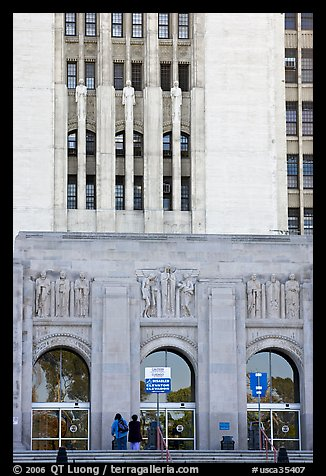 Art Deco facade of the Los Angeles County Hospital. Los Angeles, California, USA