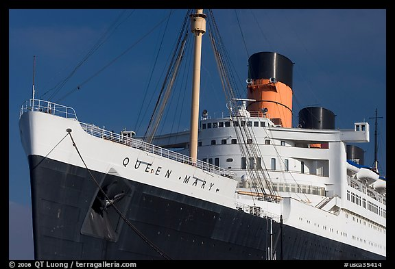 Queen Mary ocean liner. Long Beach, Los Angeles, California, USA