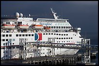 Cruise ship being boarded. Long Beach, Los Angeles, California, USA ( color)