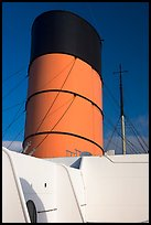 Smokestack, Queen Mary. Long Beach, Los Angeles, California, USA (color)
