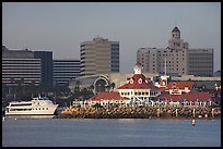Parkers Lighthouse and skyline. Long Beach, Los Angeles, California, USA (color)