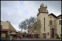 Church and Olvera Street, El Pueblo historic district. Los Angeles, California, USA