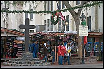 Stalls on Olvera Street, El Pueblo historic district. Los Angeles, California, USA