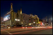 Mann Chinese Theatre at dusk. Hollywood, Los Angeles, California, USA (color)