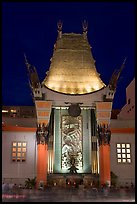 Main gate of Grauman Chinese Theatre at night. Hollywood, Los Angeles, California, USA ( color)