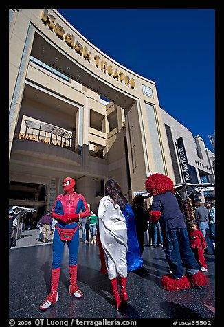 People dressed as movie characters in front of the Kodak Theatre. Hollywood, Los Angeles, California, USA