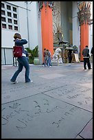 Footprints and handprints of Jack Nicholson in the Grauman theatre forecourt. Hollywood, Los Angeles, California, USA