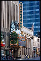 Facade of the El Capitan theater in Spanish colonial style. Hollywood, Los Angeles, California, USA ( color)