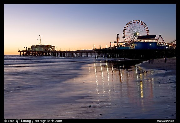 Pier and Ferris Wheel at sunset. Santa Monica, Los Angeles, California, USA