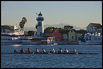 Women Rowers and lighthouse, early morning. Marina Del Rey, Los Angeles, California, USA (color)