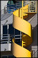 Detail of outdoor spiral staircase. Santa Monica, Los Angeles, California, USA
