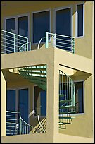 Spiral staircase and balconies on beach house. Santa Monica, Los Angeles, California, USA