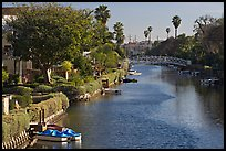 Residences along canals. Venice, Los Angeles, California, USA (color)