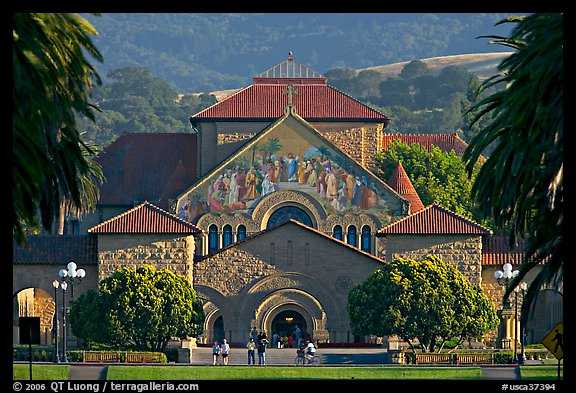 Memorial Church and main Quad, late afternoon. Stanford University, California, USA