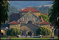 Memorial Church and main Quad, late afternoon. Stanford University, California, USA (color)