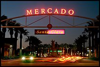 Entrance of the Mercado Shopping Mall at night. Santa Clara,  California, USA