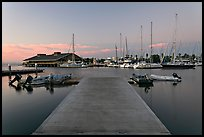 Deck and marina, sunset. Redwood City,  California, USA (color)