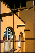 Detail of adobe style train depot. Burlingame,  California, USA (color)