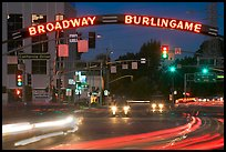 Broadway at night with lights from moving cars. Burlingame,  California, USA ( color)