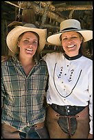Horsewomen, Parchers Camp. California, USA (color)