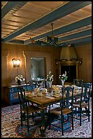 Dining room and dining table, Vikingsholm, Lake Tahoe, California. USA