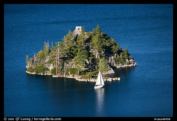 Yacht near Fannette Island, and sailboat, Emerald Bay State Park, California. USA