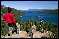 Man standing above Emerald Bay, Lake Tahoe, California. USA ( color)