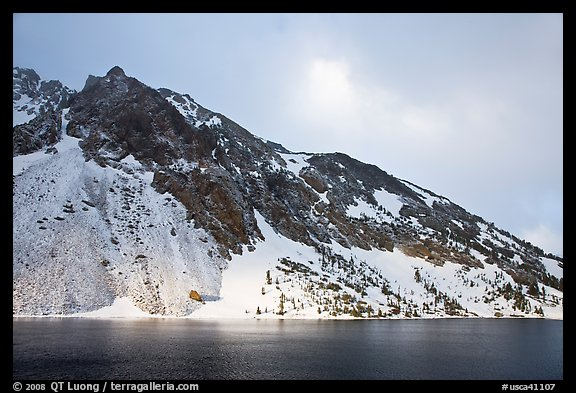 Peak with fresh snow, Ellery Lake. California, USA (color)
