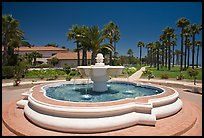 Fountain and palm trees. Santa Barbara, California, USA (color)