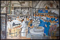Factory workers depicted in mural fresco inside Coit Tower. San Francisco, California, USA ( color)