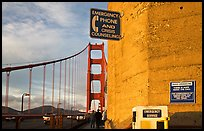 Suicide prevention signs on Golden Gate Bridge. San Francisco, California, USA ( color)